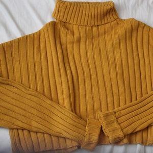 Sweaters - Mustard Turtleneck Crop Sweater